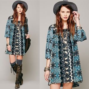 Free People Late Summer Love Dress in Teal Combo